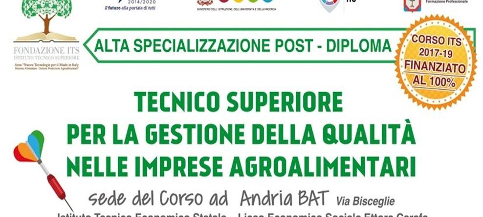 Corso Tecnico Agroalimentare: proroga iscrizioni al 9.10