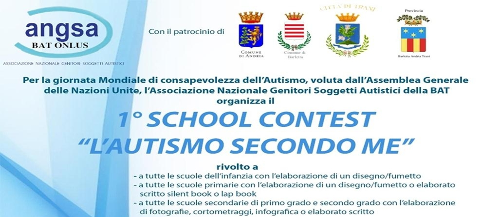 """I° SCHOOL CONTEST  """"L'AUTISMO SECONDO ME"""". Paola Albo """"Fondamentale la collaborazione con le famiglie e la scuola"""". Luigi Del Giudice: """"Un concorso per sensibilizzare gli studenti alla comprensione dell'autismo""""."""
