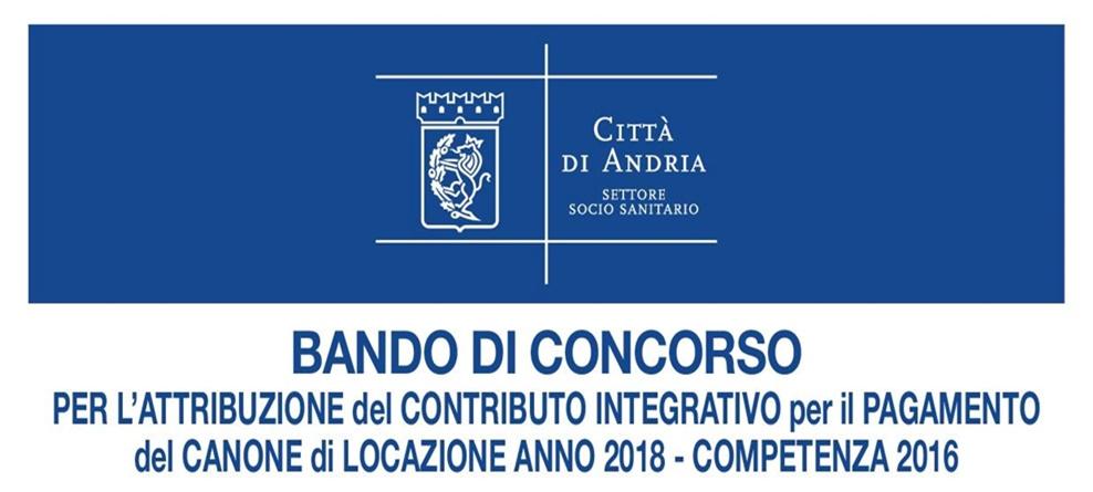 Canone di locazione 2018 - competenza 2016: bando attribuzione contributo integrativo